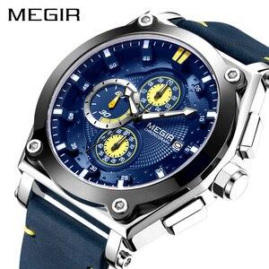 Image 1 - ساعات رجالي من MEGIR باللون الأزرق كوارتز بحزام جلدي من العلامة التجارية الأعلى ساعة معصم رياضية كرونوغراف للرجال ساعة رجالية