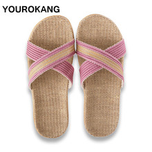 Summer Couple Home Slippers Women Slides Fashion Indoor Floor Flax Slippers Unisex Female Flip Flops Flax Slippers Dropshipping