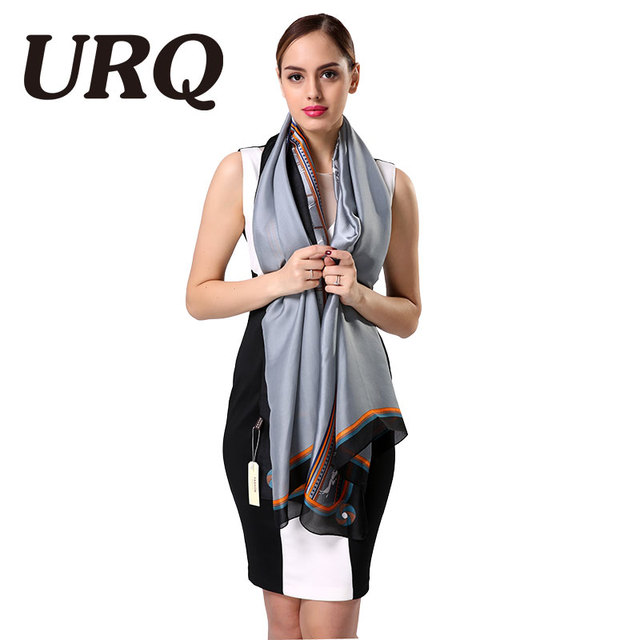 2016 Fashion Grey Ladies Scarves High Quality Silk Scarf Luxury Brand Designer Bandana Accessories Print Spring scarf shawl