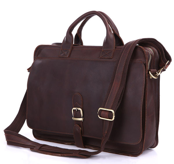 Nesitu Vintage 100% Real Genuine Leather Men Messenger Bags Cowhide Briefcase 14'' Laptop Portfolio #M6020