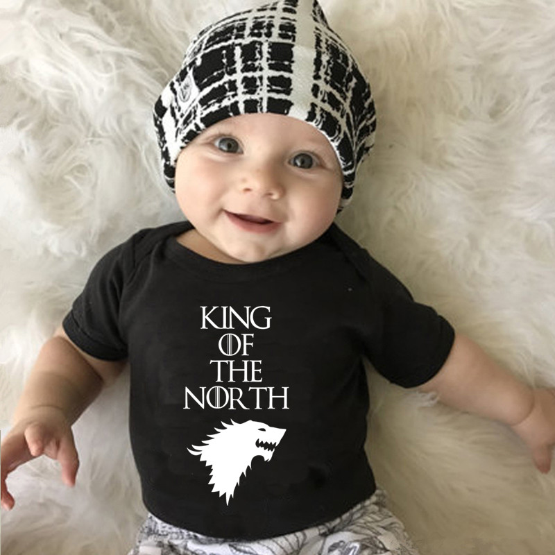 KING OF THE NORTH Letter Printed Newborn Baby Boys Girls Bodysuit Summer Cotton Short Sleeve Baby Jumpsuit New Born Onesie(China)