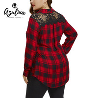 AZULINA Plus Size Lace Panel Back Long Sleeve Shirt Winter Fashion Plaid Long Sleeve Womens Tops