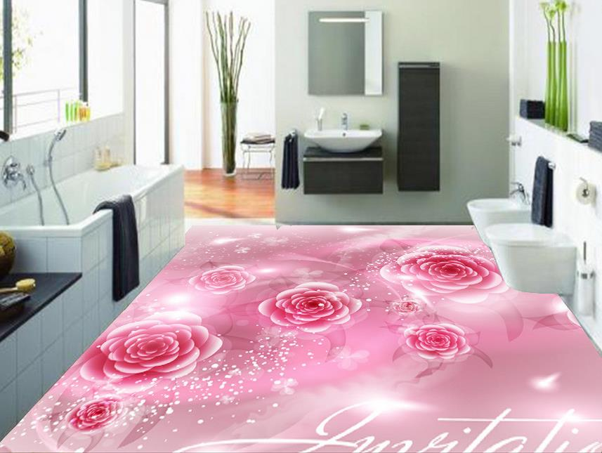 3d suelo impermeable rosa flores de papel de pared papel for Papel pintado adhesivo