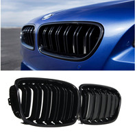 Pair Shiny Gloss Black Front Grille Double Slat For BMW F20 1 Series 2010 2014