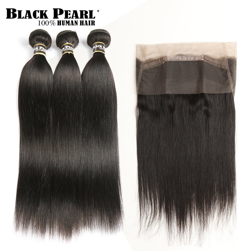 Black Pearl 360 Spets Frontal With Bundle Brazilian Striaght - Mänskligt hår (svart)
