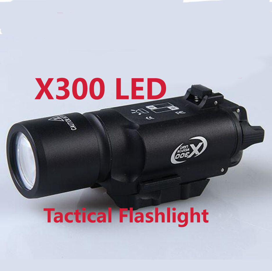 Tactical X300 LED Flashlight White Weapon Light Torch For Rifle Scope Hunting Shooting