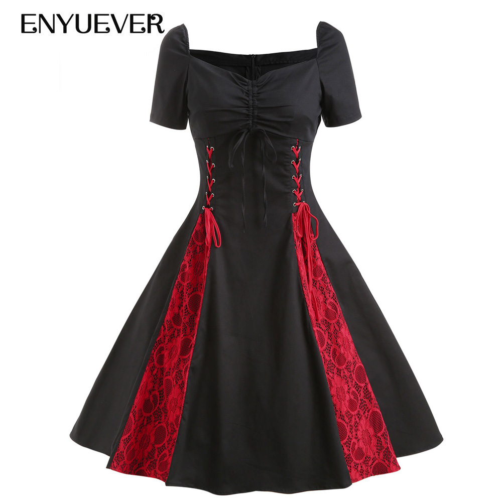 ad14909d187 Enyuever Steampunk Gothic Dress Women Plus Size Lace Up Corset Red Black  Vestido Vintage Victorian Party