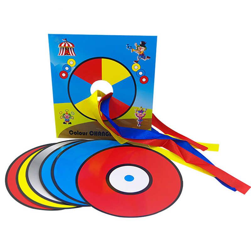 Changement de couleur Laser CD tours magiques CD changement de couleur dans le sac vide Magia magicien scène Gimmick Illusion accessoires