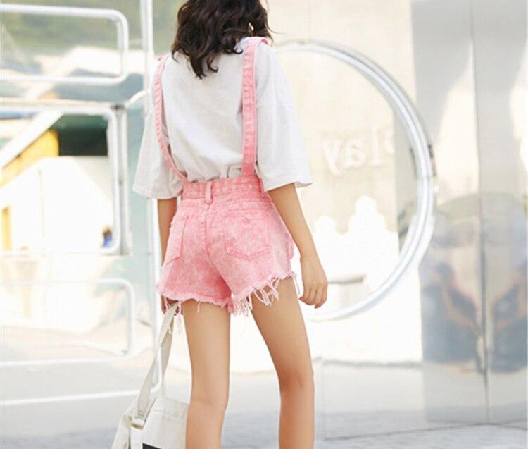 CbuCyi Women Playsuit Denim Rompers Womens Jumpsuits Hole Korean Short Playsuits Cotton Denim Tracksuits Combinaison Short Femme (4)
