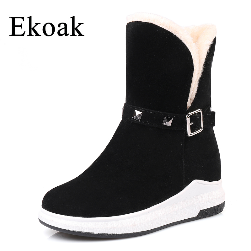 Ekoak Fashion Winter Women Boots Warm Plush Women Snow Boots Ladies Platform Shoes Woman Ankle Boots Flock Rubber Boots ekoak new 2017 winter boots fashion women boots warm plush mid calf boots ladies platform shoes woman rubber leather snow boots