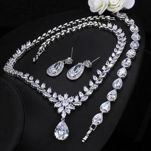 Image 5 - CWWZircons Elegant Women Wedding Jewellery African CZ Crystal Leaf Drop Bridal Necklace Bracelet and Earrings Jewelry Sets T294