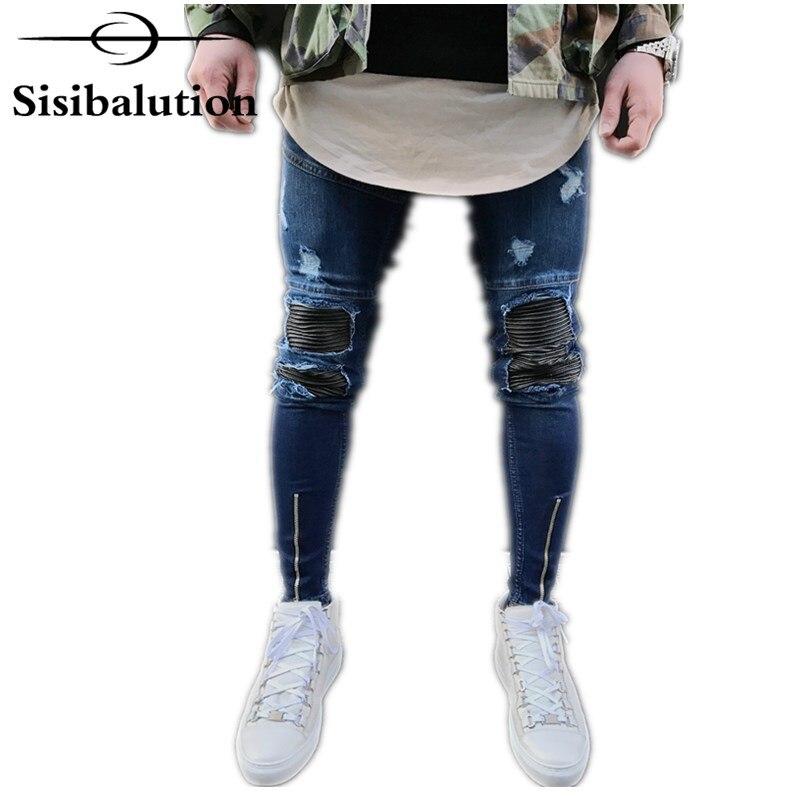 Новый Винтаж Синий Байкер Джинсы для женщин для мужчин растянуть джинсовые узкие Мотобрюки хип-хоп мужской уличной Колено Эластичный рваные мотоциклетные Штаны
