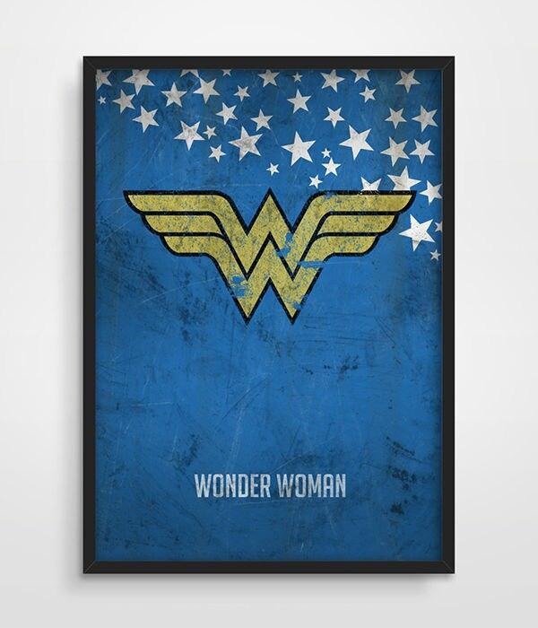 Wonder Woman Poster Superheroes Wall Art Poster Distressed