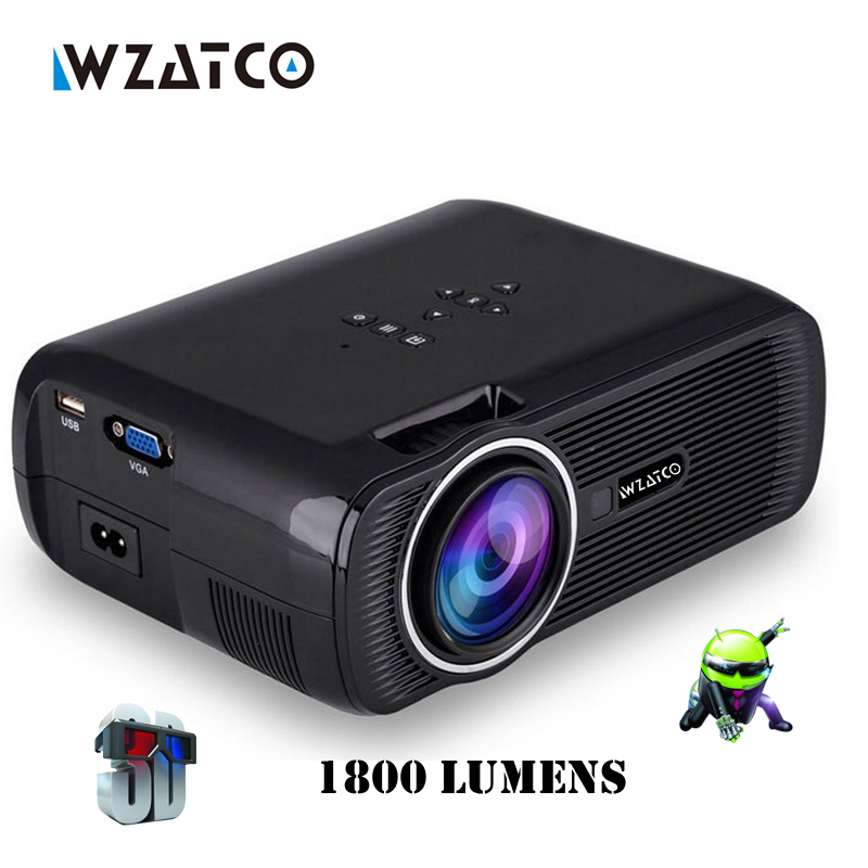WZATCO CTL80 1800lu Portable Mini full HD 1080P TV LED 3D Projector Android 6.0 Wifi Smart Home Theater Beamer Proyector everyco wzatco led96 tv projector full hd 1080p android 4 4 wifi smart rj45 3d home theater video proyector lcd projector beamer for ktv