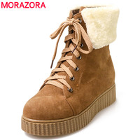MORAZORA 2018 New Women Boots Winter Boots Brand Waterproof Shoes Woman Snow Boots Plush Inside Big Plus Size 34 42