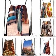 Custom Ratatouille Figurine Drawstring Backpack Bag Cute Daypack Kids Satchel (Black Back) 31x40cm#180531-04-45