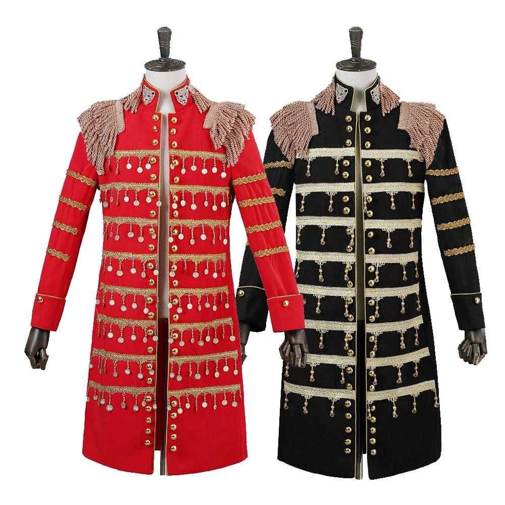 New 2018 Men Suit Blazers Jacket Red Black Long Dust Coat Male Singer Stage Compere Club Dj Wedding Groom Prom Dress Tuxedo