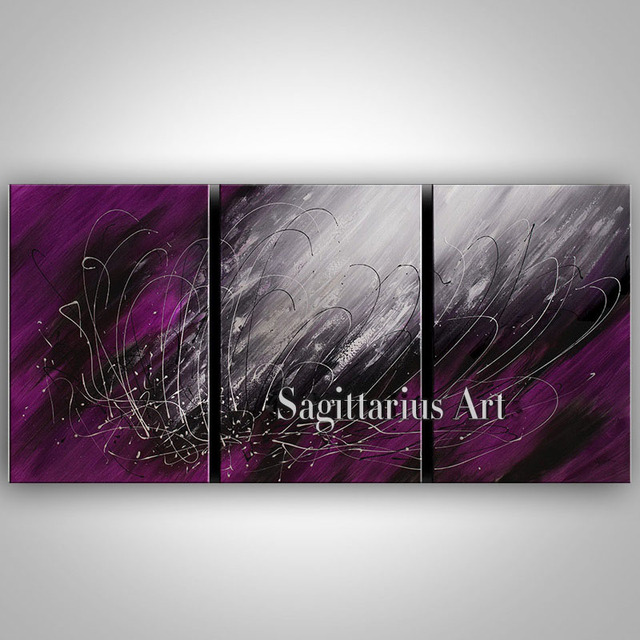 Hand Painted Abstract Oil Paintings On Canvas Purple Gray Color Mess