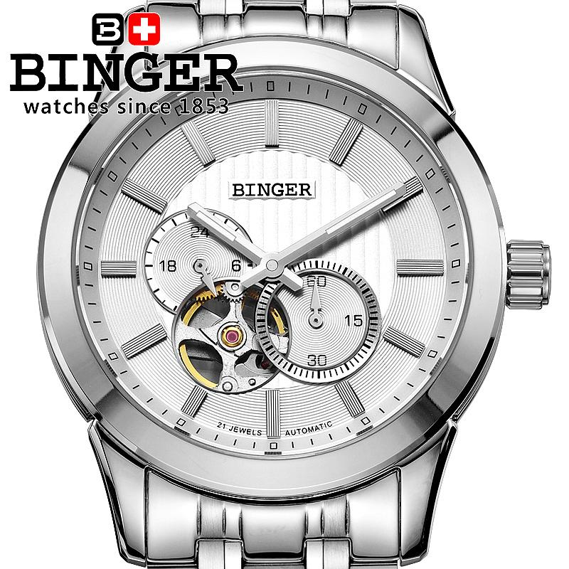 Switzerland men's watch luxury brand Wristwatches BINGER 18K gold Automatic self-wind full stainless steel waterproof BG-0406 switzerland watches men luxury brand wristwatches binger luminous automatic self wind full stainless steel waterproof bg 0383 4