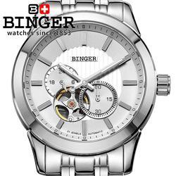 Szwajcaria męski zegarek luksusowy zegar markowy BINGER Japan MIYOTA automatyczny zegarek mechaniczny ze stali nierdzewnej wodoodporny BG-0406