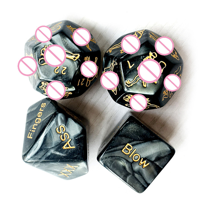 4Pcs/Set Sex Dice Marble Carving Fun Adult Acrylic Humour Game Erotic Love Sexy Posture Bar Toy Couple Gift