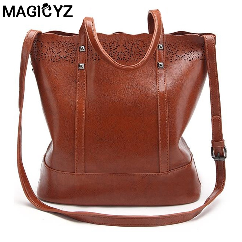 MAGICYZ Hollow out Women bag luxury leather women handbag bolsos mujer de marca famosa 2018 sac a main Shoulder Bag Brown Black women pu leather handbags fashion women s top leather pure color shoulder with bag handbag bolsos mujer de marca famosa 2018