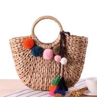 New Summer Pompon Beach Bag Straw Tote Handmade Colorful Fur Hair Ball Shoulder Rattan Large Fashion Women Girls Tassel Bucket