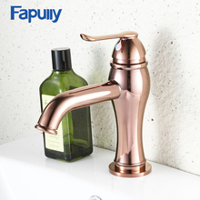 Fapully Sink Bathroom Basin Faucet Rose Gold Single Hole Deck Mount Faucets Mini Mermaid Style Mixer Tap Hot Cold Water 587-11R
