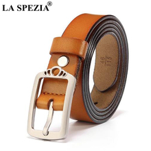 LA SPEZIA Women Square Buckle Belts Camel Cow Real Leather Belt For Jeans Female Fashion Korean Genuine Leather Ladies Pin Belt цена и фото