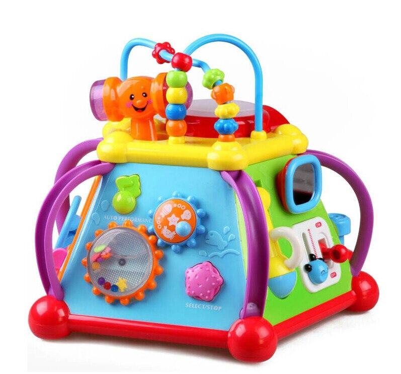 Vente chaude bébé jouet éducatif musique Flash lumière perles rondes changer scènes Microphone téléphone mer Animal Multi fonction en 1