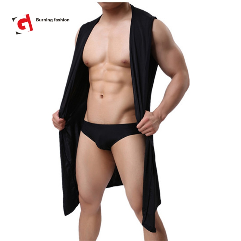 Burning Fashion Men Sexy Sleeveless Silk Gown Male Bathrobe Nightgown