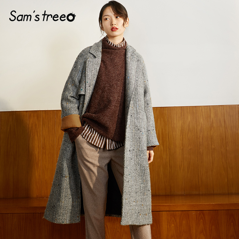 Samstree 27.9%Wool Coat Black White Striped Winter Women Extra Long Coat Double Breasted Turn-down Collar Loose Coat