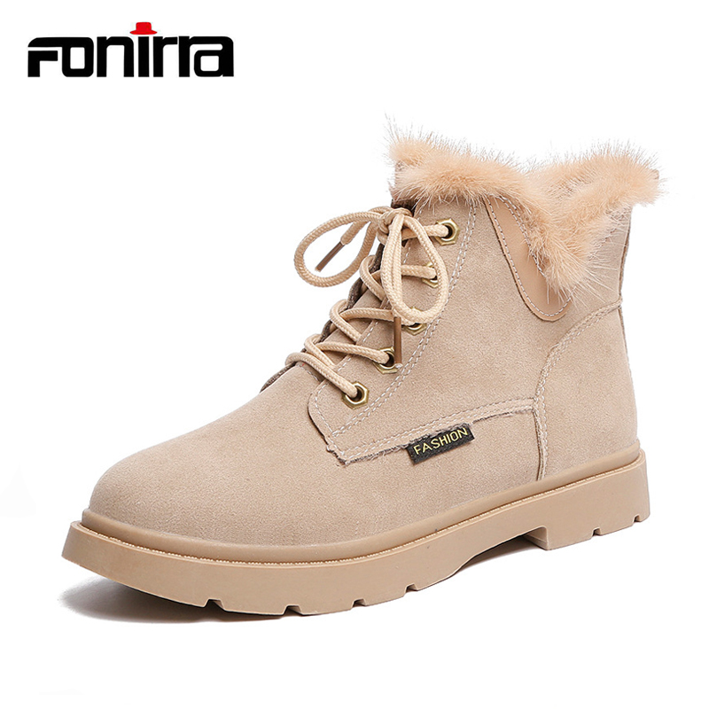 FONIRRA Lace Up Flock Ankle Boots Furry Plush Motorcycle Boots Platform Martin Boots Fur Autumn Winter Ladies Shoes Botas 028