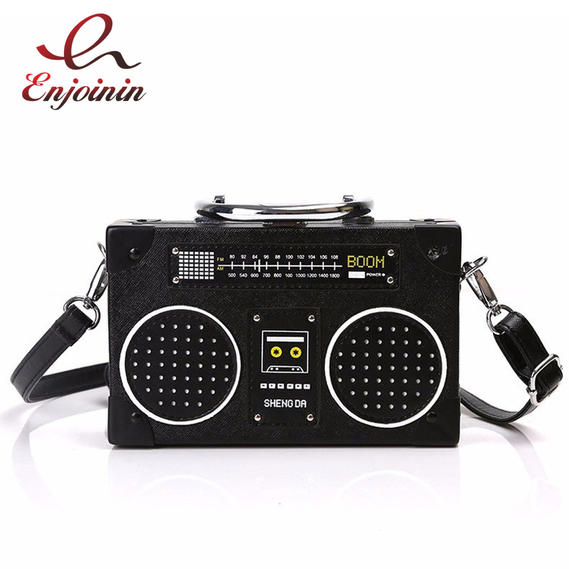 Personality black radio style pu leather fashion ladies clutch bag shoulder bag handbag female crossbody mini messenger bag purs  fun fashion personality disposable leather pu leather chain shoulder bag handbag female crossbody mini messenger bag purse