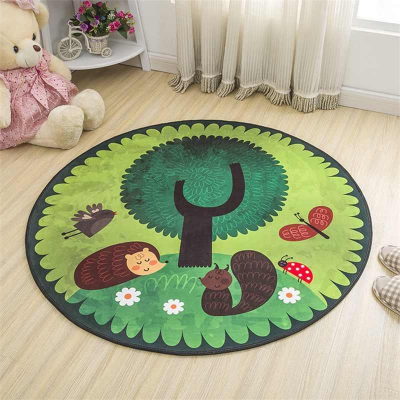 Мягкий круглый декоративный коврик с милым мультяшным ежиком, коврик для йоги, коврик для игры в ползание, коврик для прихожей