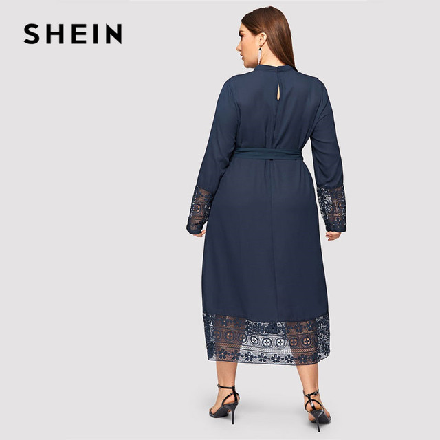 SHEIN Navy Women Plus Size Elegant Contrast Lace Belted Ruffle Trim Maxi Dress Women Stand Collar Long Sleeve Dresses 1