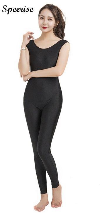 Speerise Adulto Senza Maniche Corpo Stretto Tuta Unitard Nero Canotta Scollo Nylon Activewear Balletto Yoga Costumi