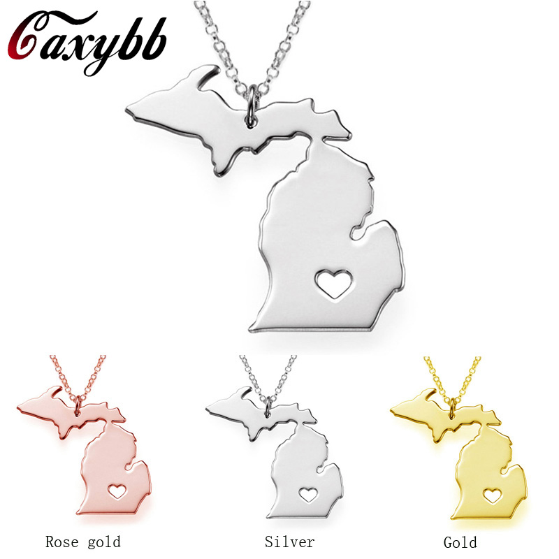 I heart Michigan map Necklace, Michigan jewelry, Personalized alloy necklaces State Charm 925 Silverplated map jewelry FTH-CN33