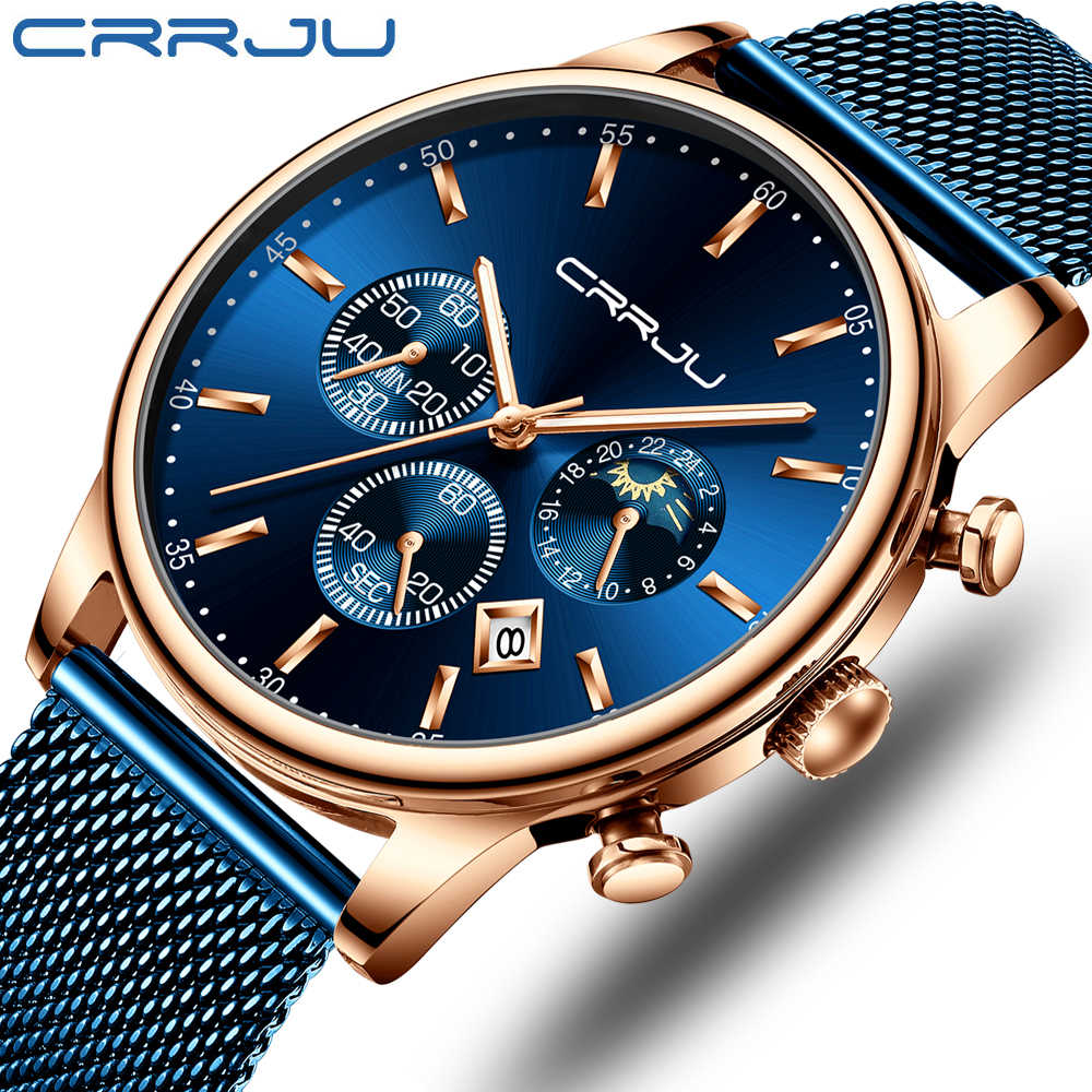 Top Luxury Brand CRRJU Men Watch Fashion Chronograph Mesh Strap Watch Casual Blue Waterproof Sport Wristwatch with Moon Phase
