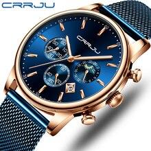 En lüks marka CRRJU erkek izle moda Chronograph örgü kayış izle rahat mavi su geçirmez spor kol saati Moon Phase ile