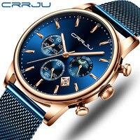 Top marca de luxo crrju relógio masculino moda cronógrafo malha cinta relógio casual azul à prova dwristwatch água esporte relógio de pulso com fase da lua|Relógios de quartzo| |  -