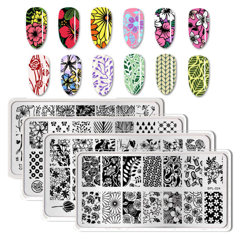 BORN PRETTY Nail Stamping Plates Flower Geometry Nature Series Nail Template Stamp Image Manicure Stamp Plate DIY Nail Designs
