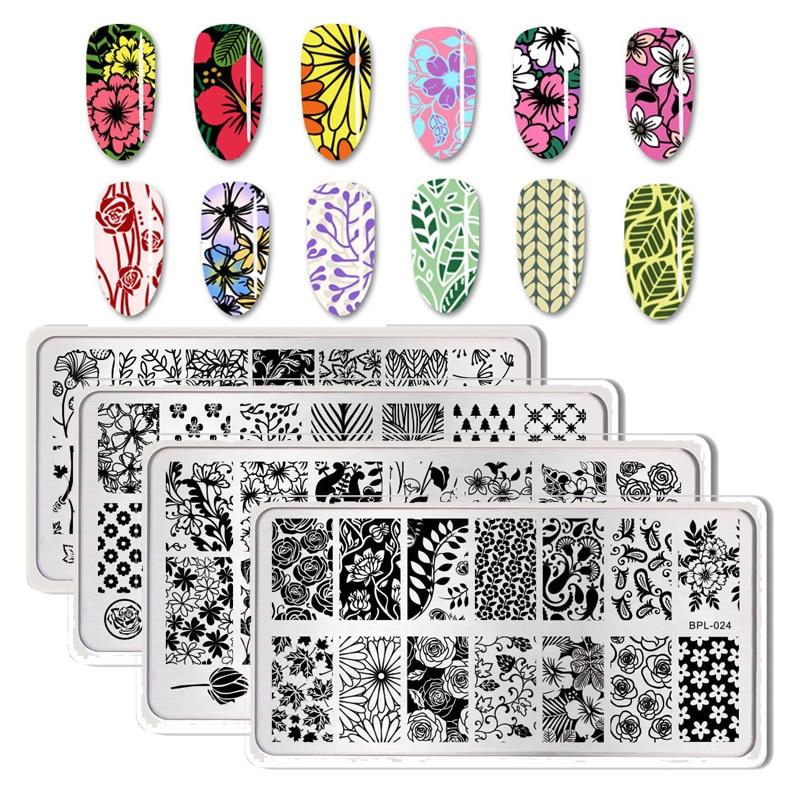 Geometric Reverse Stamping Nail Art Born Pretty Review: BORN PRETTY Nail Stamping Plates Flower Geometry Nature