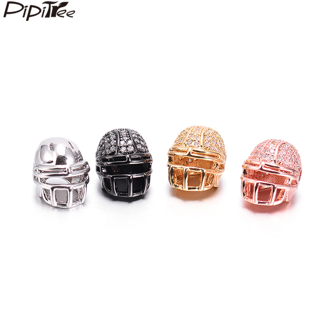 quality design f7018 a5556 US $4.99 20% OFF|Pipitree 3pcs Wholesale American Football Helmet Beads for  Jewelry Making Copper Cubic Zirconia DIY Spacer Beads fit Bracelet-in ...