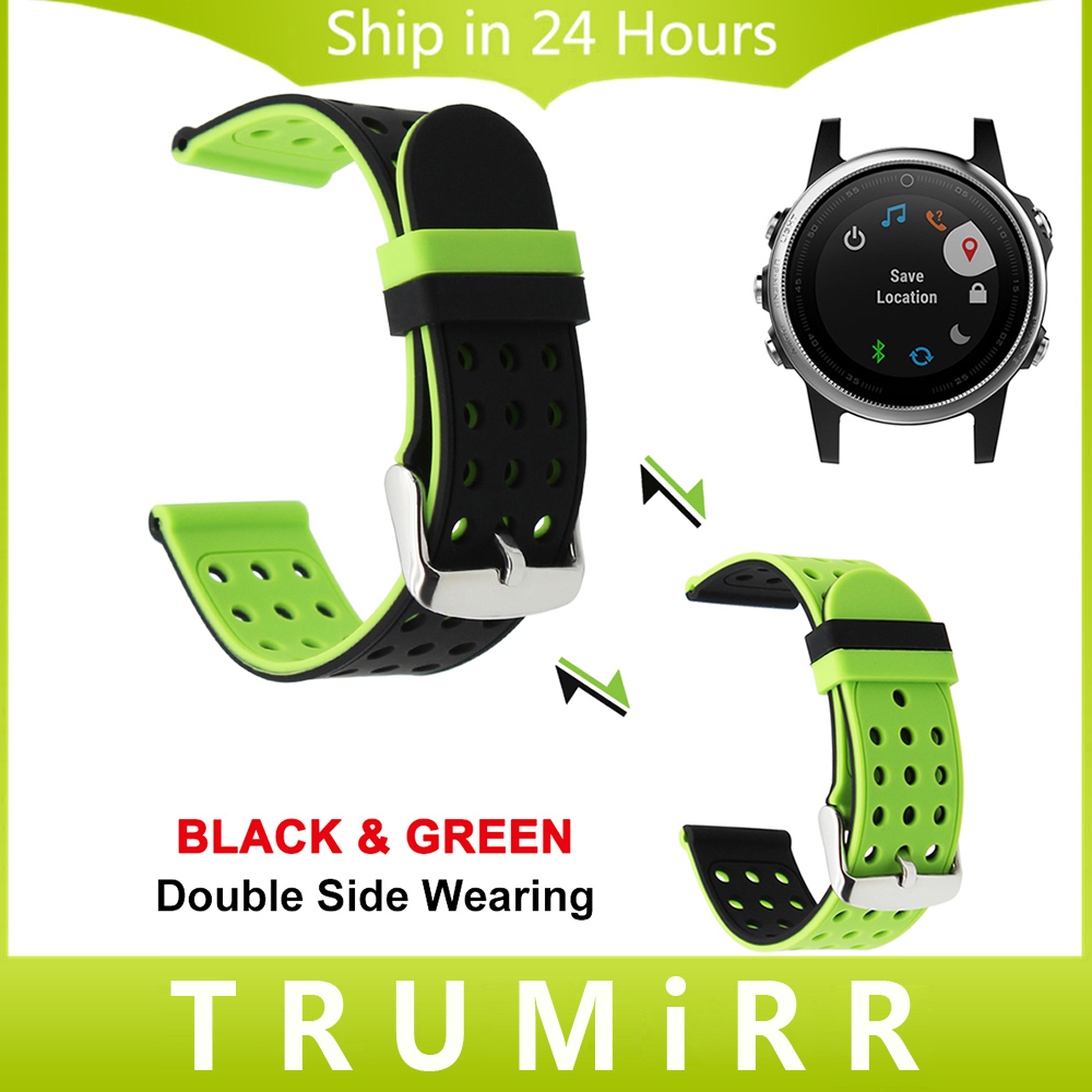Silicone Rubber Watchband Double Side Wear for Garmin Fenix 5 Epix Vivoactive HR Forerunner 935 Watch Band Wrist Strap 22mm 24mm 22mm width nylon strap for garmin fenix 5 band outdoor sport watchband with quick fit for garmin fenix 5 replace wrist band