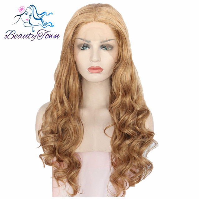 BeautyTown Brown Color Heat Resistant Hair Hand tied Big Lace Part Perruque Masquerade Synthetic Lace Front Party Wig For Gift