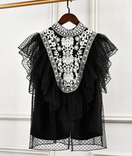2019 spring women High quality embroidered lace Shirts sexy sleeveless ruffles blouses Tops G168