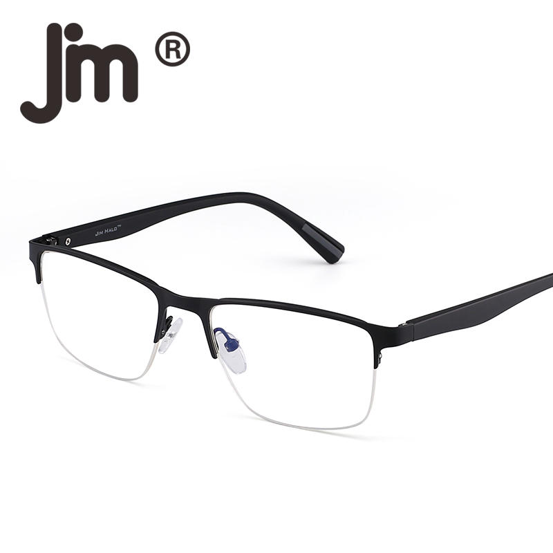 JM Semi Rimless Rectangle Optical Frame Glasses Spring Hinge Metal RX-able Eyeglasses Clear Lens