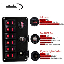 цена на 6 Gang LED Boat Rocker Switch Panel Dual USB Charger Socket Power Outlet  Voltmeter Car Marine Boat New DXY88 Toggle