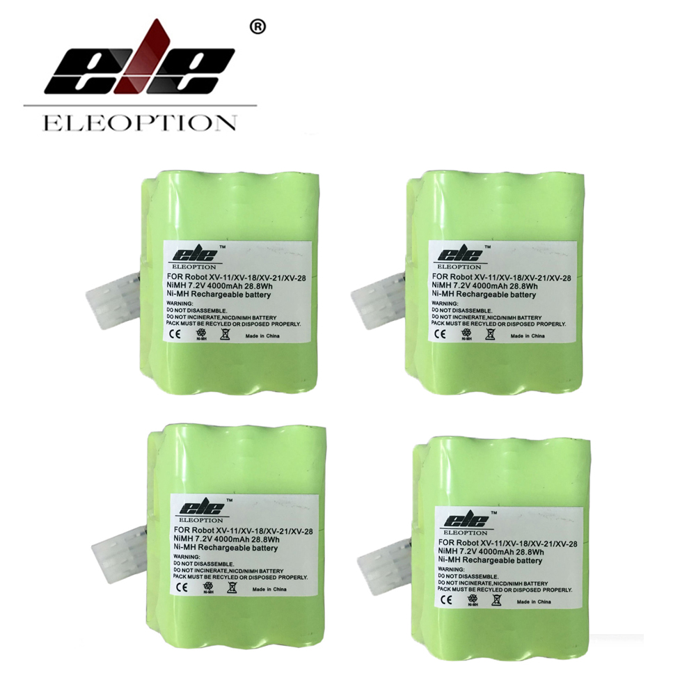 ELEOPTION 4PCS 4.0Ah High Quality New 4000mAh 7.2V Battery For Neato XV Signature Pro XV-11 XV-12 XV-14 XV-15 XV-21 XV-25 eleoption 2000mah 14 4v battery for bosch 14 4 volt bat038 bat140 bat159 bat040 bat041